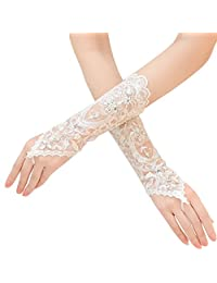 Bridal Lace Fingerless Gloves Rhinestone Wedding Glove for Party Prom White
