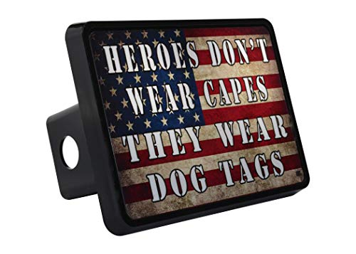 Rogue River Tactical USA Flag Trailer Hitch Cover Plug US Patriotic Heroes Wear Dog Tags Military Veteran Gift