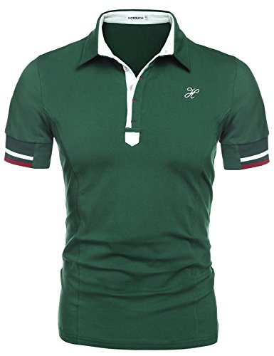 Hotouch Men Slim Fit Jersey Polo Shirt Green L