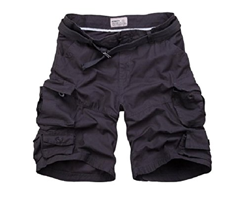 Winwinus Men Baggy Summer Belted Multi-Pockets Fine Cotton Boardshorts Dark Grey 2XL by Winwinus (Image #1)