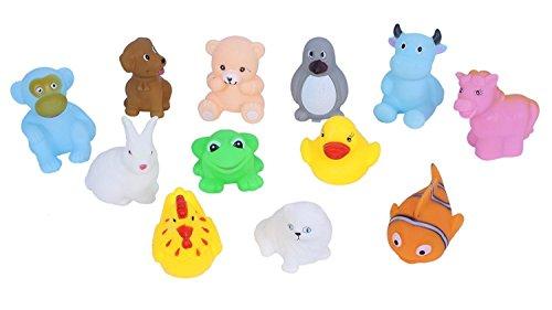Cable World® Baby Bath Toy Set of 12 Pcs Chu Chu Colorful Animal Shape Toy (Multicolor) ( Multi Design )