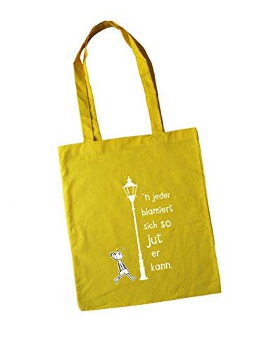 Jutebeutel bedruckt mit Berliner Spruch - Blamiert - / Stoffbeutel / Jute Beutel / Einkaufsbeutel Baumwolle mit Sprüchen von SPREE Klamotte Berlin - Statement Sprüche Tasche - schwarz gelb
