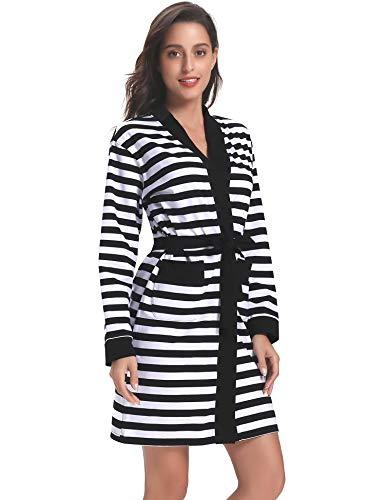 Hawiton Women's Cotton Bathrobe Stripe Long Sleeve Kimono Robe Sleep Nightgown Robes Black