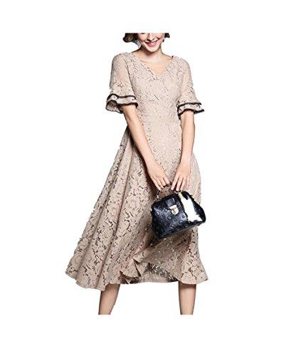 Vestito Lungo Abito Donna Patchwork Manica Cerimonia Donna Elegante Cachi con Scollo Pizzo Flare V FuweiEncore HnZdWxwH