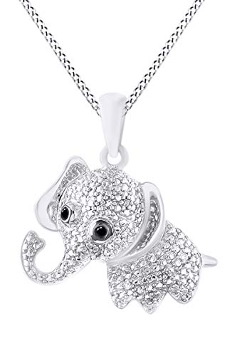 Round Black & White Natural Diamond Elephant Pendant Necklace in 14K White Gold Over Sterling ()