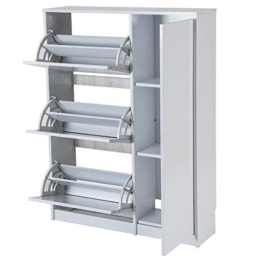 El armario zapatero Tigris 55AB tiene una estructura simple y practica, 3 puertas abatibles y 3 huecos o repisas para zatos de tacón, botas, etc…