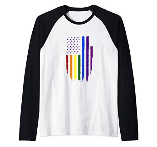 - Rainbow Shirt Vintage Pride Flag Gay Pride Raglan Baseball Tee
