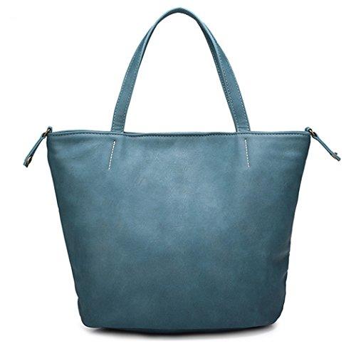 PurCattle donna alla moda in pelle PU semplice top impugnatura borsa, Arancione Blu (blu)