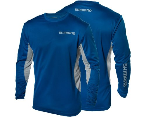 SHIMANO Technical Long Sleeve Shirt - Royal Blue - 2XL (Shimano Fishing Shirts For Men)