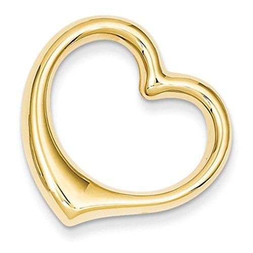 14k Yellow Gold Polished Heart Hollow Charm Pendant Chain Slide (Polished Heart Slide)