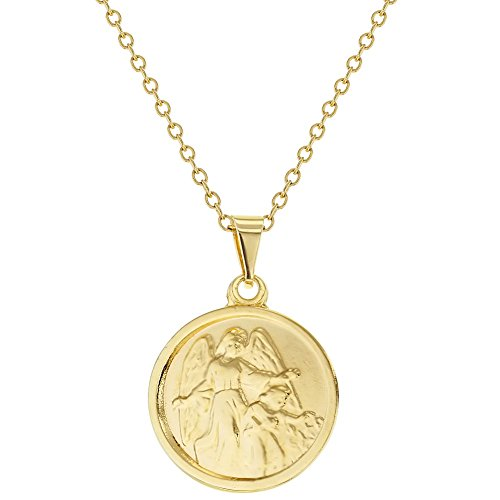 18k Gold Plated Guardian Angel Medal Newborn Baby Necklace 16