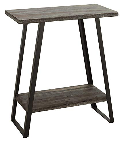 Ravenna Home Aubree Mid-Century Modern Shelf Storage Side Table, 23.6 W, Grey Fir