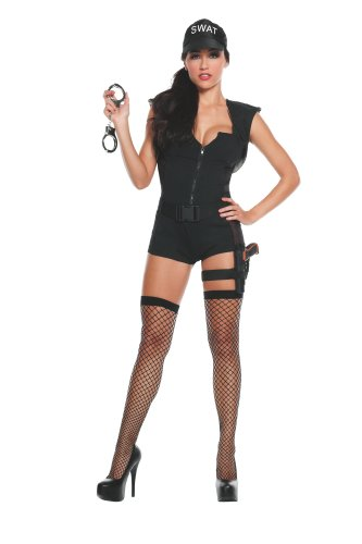 Starline Women's Hot S.W.A.T. Commander Deluxe Costume Set, Black, Large