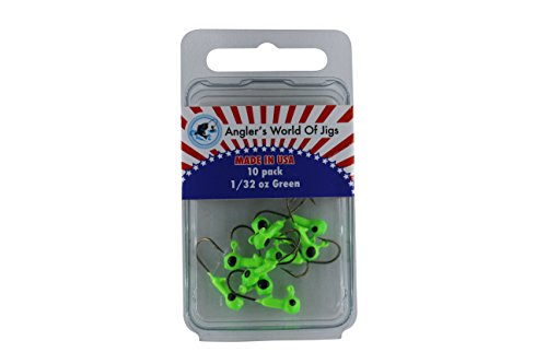 Angler's World of Jigs Jig Head Fishing Hooks - Fishing Lures Bait for Worms Shrimp in Freshwater - Glow in Dark and Available in Different Bright Colors (1/32 oz Green - Bronze Hook, 10 Pack)