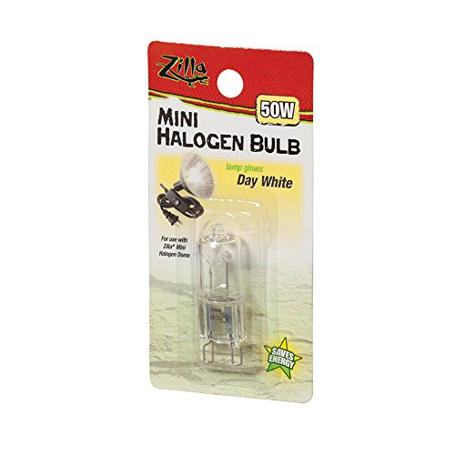 Zilla Reptile Terrarium Heat Lamps Mini Halogen Bulb, Day White, 50W