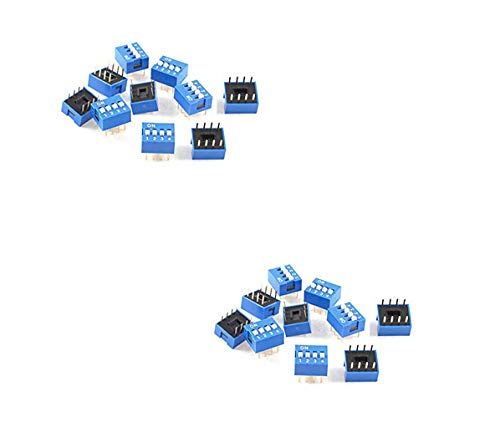Yohii 20 Pcs Blue Double Row 8 Pin 4 Positions 2.54mm Pitch DIP Switch Assorted