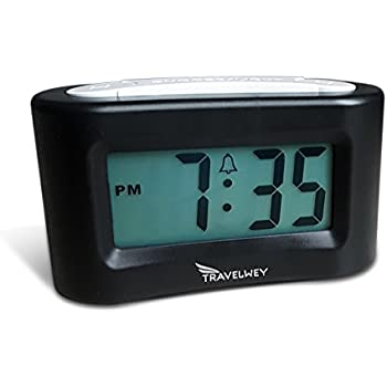 Small Digital Clock - No Bells, No Whistles, Simple Basic Operation, Battery Operated, Alarm, Snooze, Light, Perfect for Desk, Shelf, Travel, Bedside, Black