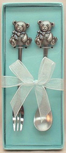 Teddy Bear Spoon & Fork Set - Blue