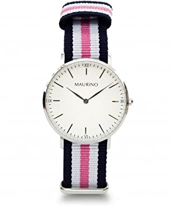 MAURINO Damen Armbanduhr Analog Quarz Textil Silber 40mm M01641