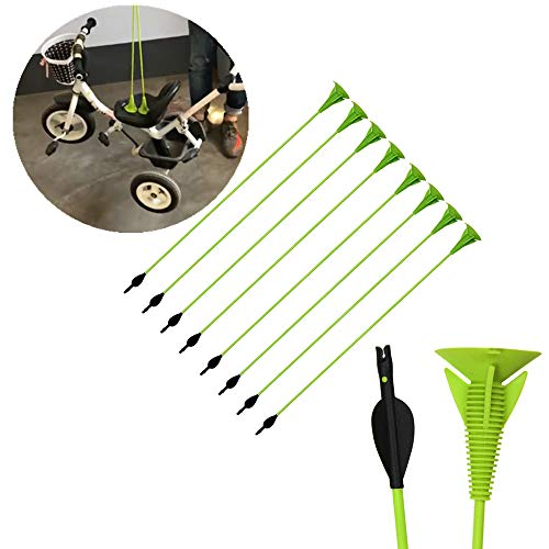 Tophunter Archery Sucker Arrows for Kids Youth 8 Pack 27 Inch Safe Suction Cup Children Arrows Target Practice Shooting Arrows Best Gift Green
