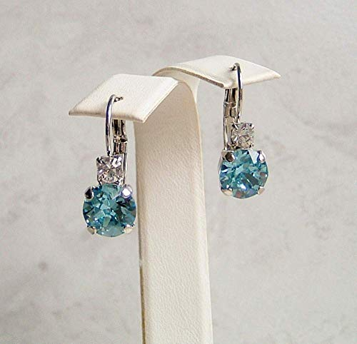 Aqua Blue Round Crystal Studded Top Leverback Earrings Simulated Aquamarine March Birthstone Gift Idea SP