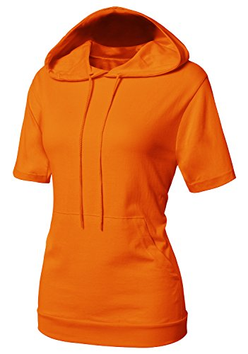 CLOVERY Women's Band Bottom Short Sleeve Hoodie Orange US M / Tag M