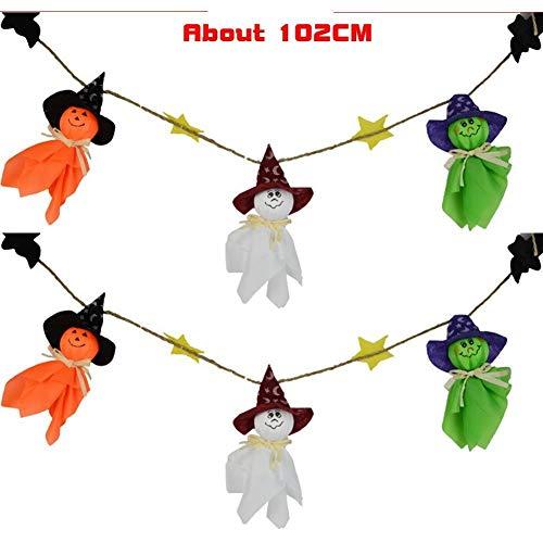 Yevison Premium Quality Cartoon Halloween Ghost String Flag Kindergarten Bar Activities Festival Ornaments