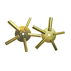 5 Prong Brass Clock Key for Winding Clocks, Odd and Even Numbers, 2 Piece from Brass Blessing (5025)
