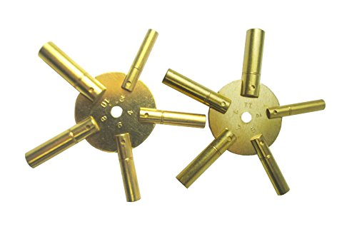 Universal 5 Prong Brass Clock Key for Winding Clocks, Odd and Even Numbers, 2 Piece from Brass Blessing