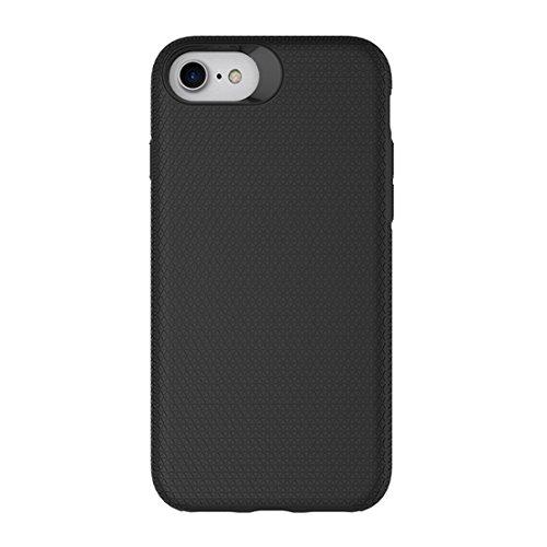 Mobile protection Para iPhone 8 y 7 PC + TPU Chrome plateó el botón de la caja protectora antirresbaladiza de la contraportada del botón de la prensa ( Color : Black ) Black