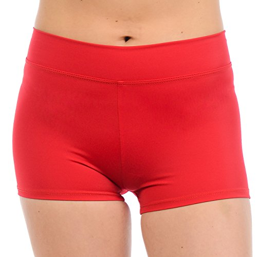 Anza Girls Active Wear Dance Booty Shorts-Red,Small by Anza Collection