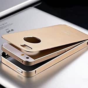 ModernGut No Screw Ultrathin Aluminum Cover Metal Case For iPhone 5 5S 5G Phone Bag Luxury 14 Champagne Gold Matte Surface Free Film