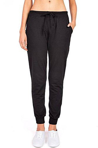 (Ambiance Women's Juniors Soft Jogger Pants (L, Black))