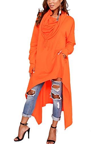 Womens Handkerchief Hem Kangaroo Pocket Loose Casaul Hooded Coat Pullover Orange US 4