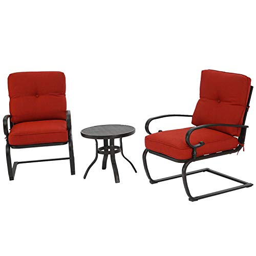 BonusALL Outdoor 3-Patio Bistro Sets Springs Metal Motion Chairs and Round Table Set with Wrought Iron Furniture Cushions Red