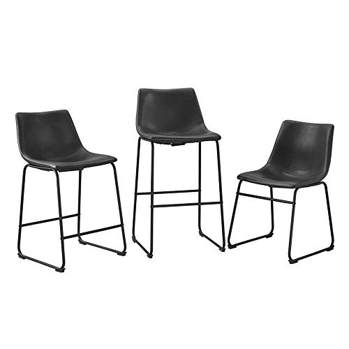 WE Furniture Black Faux Leather Dining Chairs, Set of 2 by WE Furniture (Image #5)