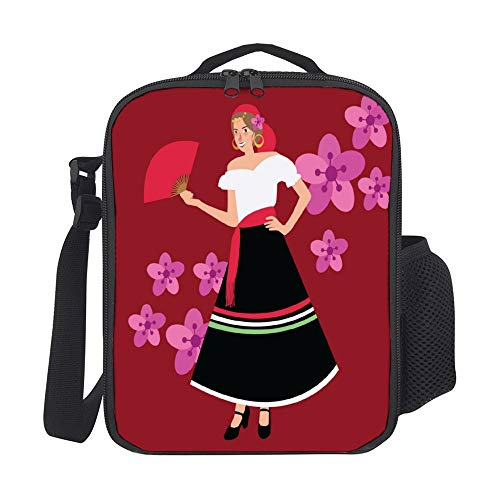 SARA NELL Kids Lunch Backpack Lunch Box Traditional Spanish Spain Costume Iypsy Girl Woman Lunch Bag Large Lunch Boxes Cooler Meal Prep Lunch Tote With Shoulder Strap For Boys Girls Teens Women Adults -