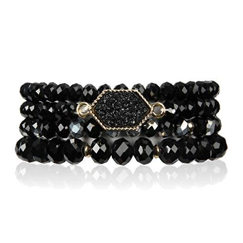 RIAH FASHION Bohemian Versatile Multi-Layer Bead Statement Bracelet - Stretch Strand Stackable Cuff Bangle Set Sparkly Crystal, Acrylic Druzy, Pave Fireball (Hexagon Acrylic Druzy - Black) - Stone Bracelets Jewelry Gemstone Multi