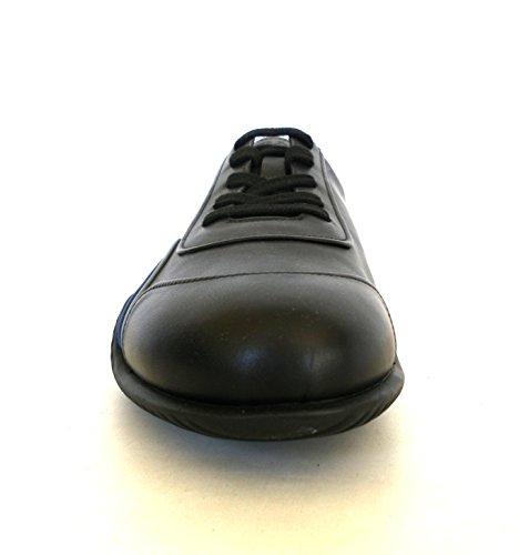 Prada sneaker scarpe uomo modello 4E2761 1009/F011E vitello plume nero/blu