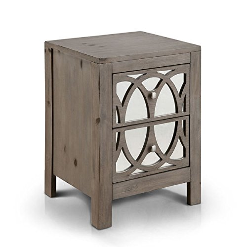 Furniture of America Alessa Contemporary Mirrored Rustic 2-drawer Nightstand Review