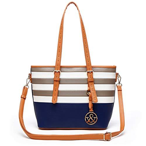HNA Classic Multi Color Striped Top Handle Tote Bag ()