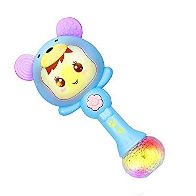 Cute Shaking Cartoon Rabbit Shaped Rattle Toys Baby Hand Bells Educational Baby Electronic Music Rattle Toy Rattle Drum Sand Hammer Molar Teething Toys Under 1 Year Old Infant Kids 1pc Pink Blue: Jewelry