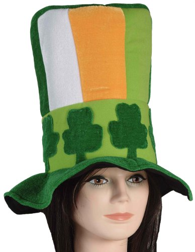 Forum Novelties St. Patrick's Day Costume Stovepipe Hat, Green Shamrock Band, One Size -