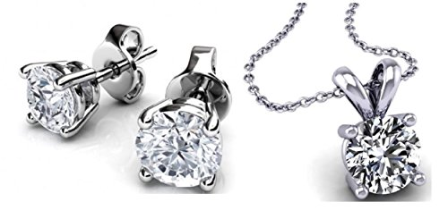 Genuine 4 Prong Diamond - Genuine 1 Carat Natural Solitaire Round Cut Diamond 4 Prong Necklace & Studs Earring Set in 14k White Gold