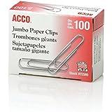 ACCO Paper Clips, Economy, Smooth, Jumbo, 100/Box, 10 Boxes (72580)