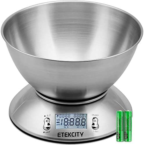 Etekcity Food Scale with Bowl, Timer, and Temperature Sensor, Digital Kitchen Weight for Cooking and Baking, 2.15L, Silver