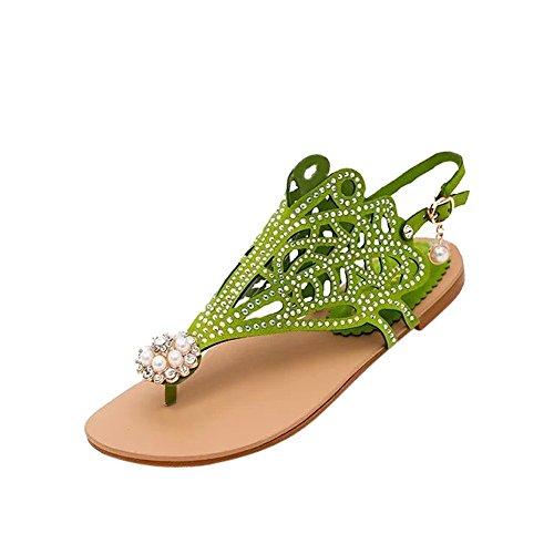 Sandals Plage Vert De Femmes Vintage Anti Rome Strass Dérapant Chaussures Cathyoyo Plat Slipper Talon hQdrstC