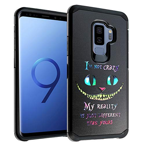 Cheshire Cat Quotes Galaxy S9+ Plus Case, IMAGITOUCH 2-Piece Style Armor Case with Flexible Shock Absorption Case Cover for Samsung Galaxy 9Plus - Alice in Wonderland Cheshire Cat Quotes Hybrid -