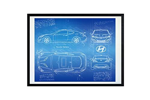 DolanPaperCo #452 Hyundai Genesis Coupe 3.8 (2013) Art Print, da Vinci Sketch - Unframed - Multiple Size/Color Options (17x22, Blueprint)