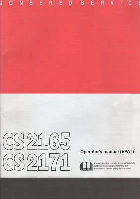 2005 JONSERED CHAIN SAW CS2165 & CS2171 OPERATOR'S MANUAL 1088952-95 (904)